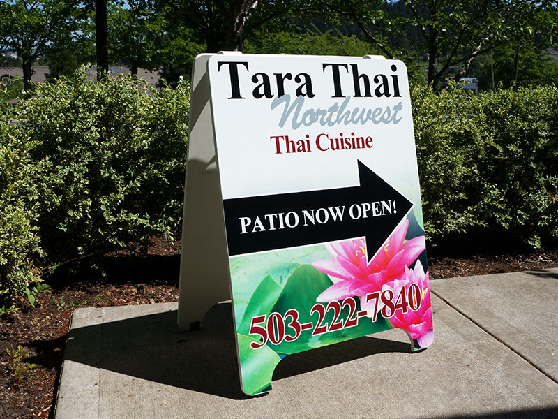 Custom Printed A-Board Tara Thai Northwest Portland