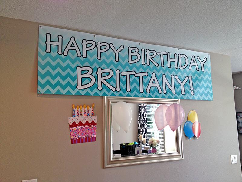 Custom Printed Happy Birthday Banner Tiffany Blue