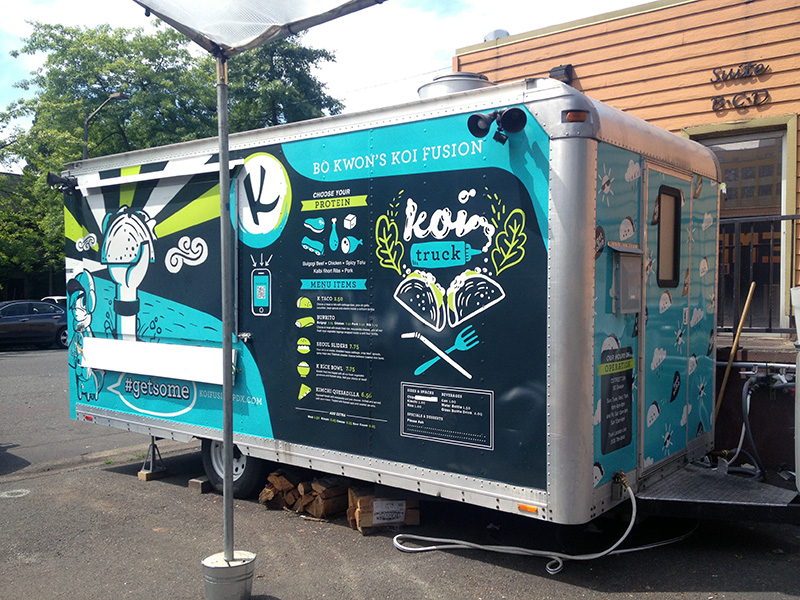 Koi Fusion Food Cart Portland Trailer Wrap Graphics