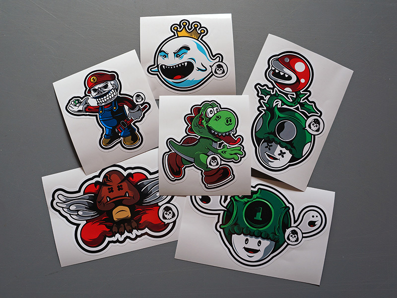Darth Skull Custom Mario Themed Sticker Pack Printed Stickers