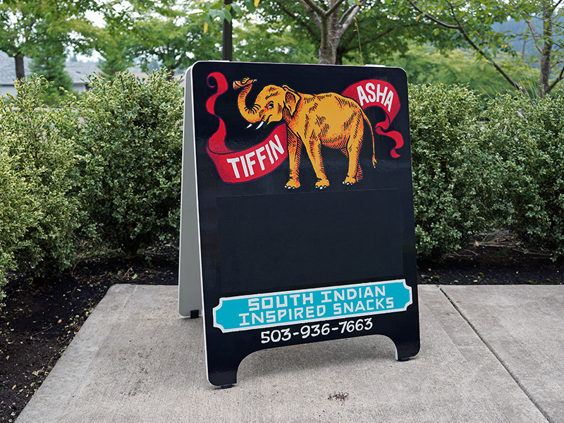 Tiffin Asha Custom A-Board Sandwich Board with Chalkboard Vinyl