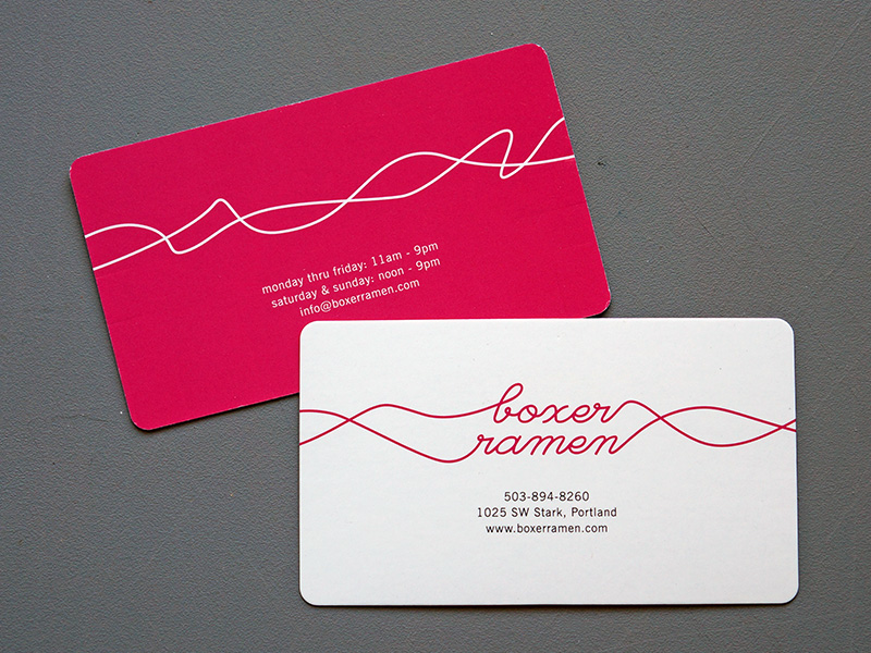 Boxer Ramen Custom Business Cards UV Round Corners Printed Portland Oregon