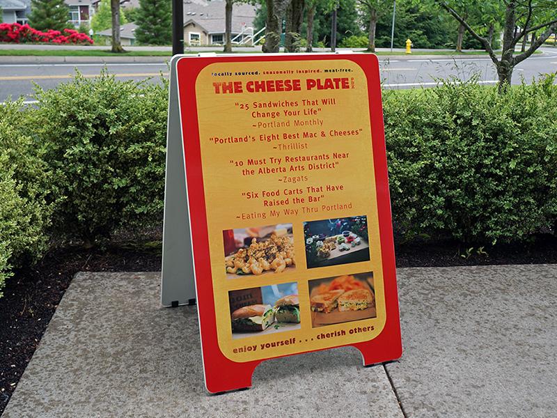 The Cheese Plate PDX Sandwich Board Custom Portland Oregon