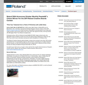 Roland DGA Screen Shot of Press Release Creative Awards Winner