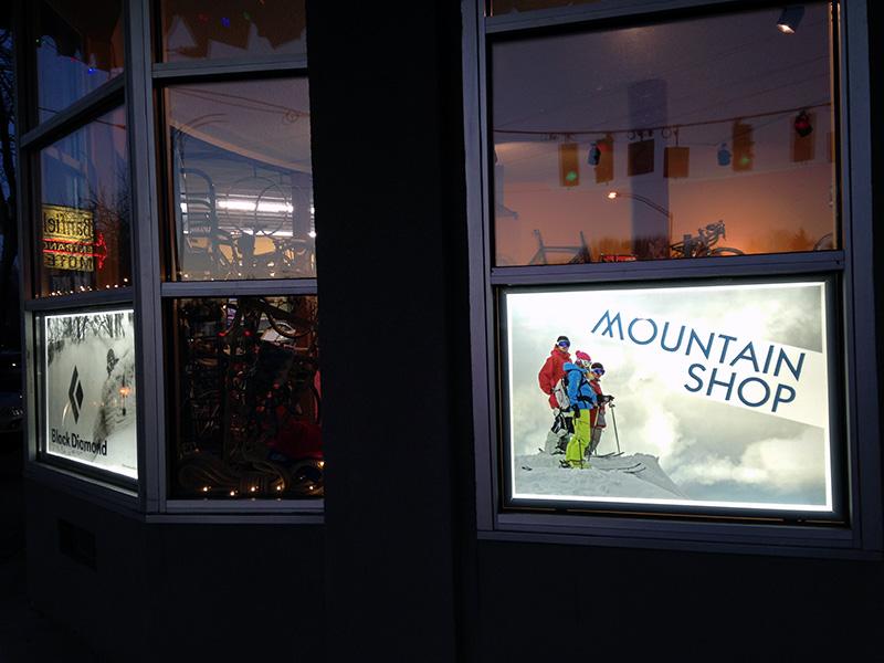 Custom Backlit Film Sign Mountain Shop Portland