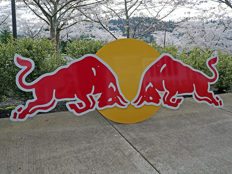 Red Bull Pantone Match Printed Dibond Vinyl Sign Aluminum Beaverton Tigard Tualatin Oregon