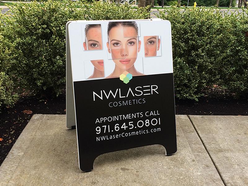 NW Laser Spa Sandwich Board Sidewalk Sign Custom Beaverton